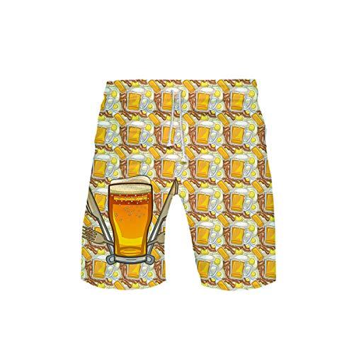 Sokmoop Oktoberfest Herren Badehose 3D Bier Gedruckt Strand Surf Schwimmen Laufen Board Shorts(Gold,XXXL)