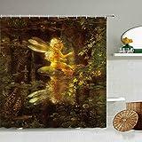 None brand Cartoon Elf Engel MäDchen Duschvorhang Fantasie Zauberwald Schmetterling Blume Pilz Kinder Badezimmer 3D Wasserdichter Display-B180xH180cm