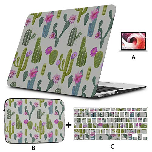 Macbook 15 Cover Cactus Flowers Green Plant Healthy Macbook Air Covers Hard Shell Mac Air 11'/13' Pro 13'/15'/16' With Notebook Sleeve Bag For Macbook 2008-2020 Version