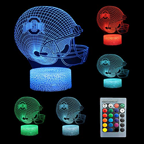 Football Cap Ohio State University Team Logo Lamp Table Night Light Touch USB Power Night Light with 16 Color Change Modes,3D Illusion Lamp Led Game Lighting Gifts for Kids Birthday Christmas