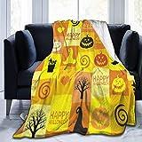 KNBNDB Luxury Velvetsy Peluche Micro-Velour Coperta Ultra-Morbida Vintage Happy Halloween Pumpkin Skull Patchwork for Fashion all-Season Anti-Static for Fleece Throw Couch Bed 50x60 Pollici