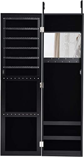 lowest Giantex popular Jewelry Armoire Cabinet Wall Door Mounted with Full Length Mirror, Jewelry Organizer with Makeup Mirror, Ring Earring Slots, wholesale Necklace Hooks, Large Capacity Storage Jewelry Armoire (Black) online