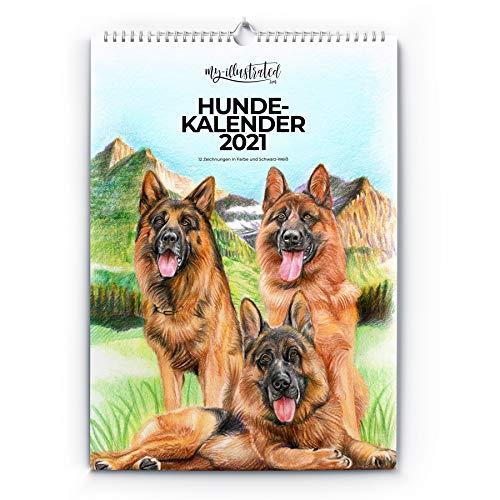 Calendario 2021 – A3 – Calendario artístico – Calendario de perros – Ideal como regalo para amantes de los perros – 12 dibujos – Calendario artístico – Perros – Calendario de pared – MYI020