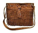 AIVTALK - Damen Fashion Fransentasche Handtasche Schultertasche Umhängetasche aus künstlichem Wildleder - Braun