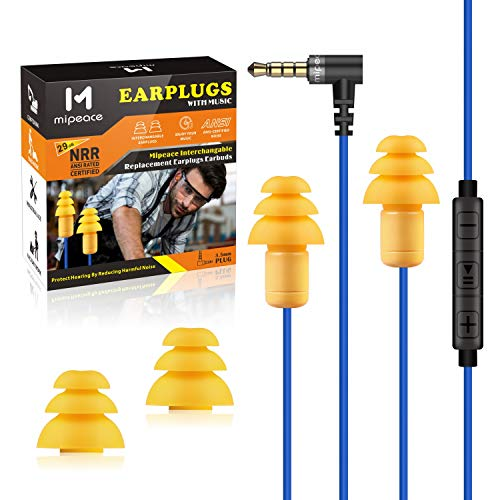 Ear Plug Headphones for Work, Mipeace in-Ear Safety Earphones Earbuds Wired with Microphone and Controls-Noise Reduction Work Earbuds for Work Ear Protection Construction