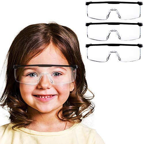 V by Vye   Black Frame Kids Safety Glasses   3 Pack Small Protective Eyewear Anti-Fog Clear Safety Goggles for Children   Ships Direct from USA