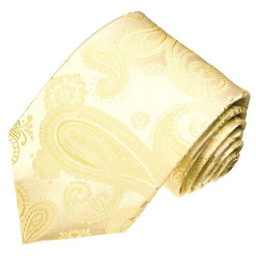 Lorenzo Cana - Handgefertigte Krawatte aus 100% Seide - Hochzeit Trauung Ivory Elfenbein Paisley - 84108