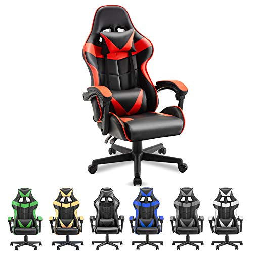 Soontrans Gaming Chair Ergonomic Office Chair Racing Chair for Gaming Computer Chair,E-Sports Chair with High-Back,Adjustable Headrest and Lumbar Support (Magma Red)