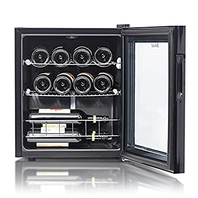 Smad 46L Wine Fridge | 5-18°C | 43cm Wine Cooler fridge with Glass Door | Touchscreen Small Wine Fridge | Drinks Cellar | Touch Screen + LED Light | 12 Bottle by Smad