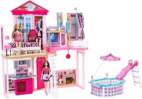 Barbie–Set Completo casa e Piscina, Set Regalo Inclusi 3Bambole e 3Set di mobili