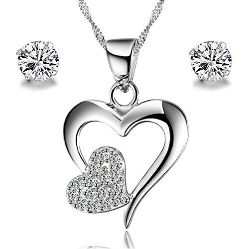 Gilind, parure composta da collana e orecchini da donna in argento Sterling 925, motivo a cuore, in confezione regalo, argento, colore: Double Heart, cod. Gilind