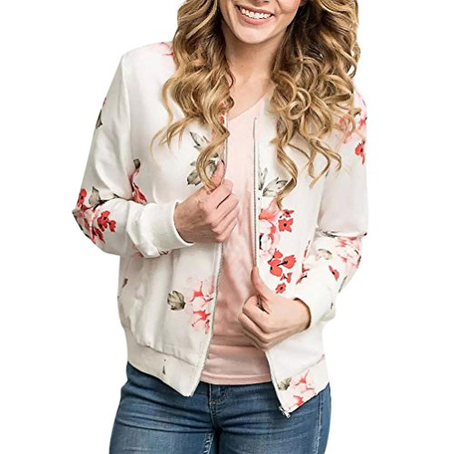 Damen Shirt Bluse,Damen Womens Floral Print Top Coat Outwear Sweatshirt Hooded Jacket Overcoat (Weiß, S)