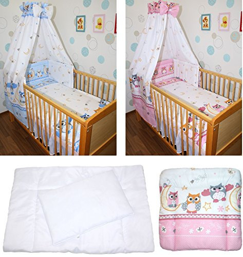 5-20 teiliges Baby Bettse mit Bettwäsche Himmel Nestchen tEULE ROSA BLAU Rosa 9 tlg
