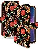 Galaxy A20 SCV46 SC-02M ケース 手帳型 携帯ケース ローズ ペイズリー ブラック 花 花柄 おし……
