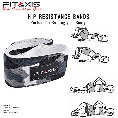 FITAXIS Banda Hip elástica de Resistencia para la Cadera glúteo Cadera botín elástico Fitness Yoga activación Antideslizante Entrenamiento reparación de lesione Suave (Camo Gray, L-32)