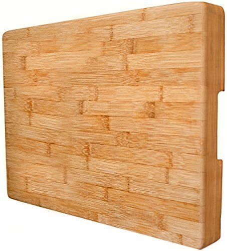 "EXTRA LARGE Bamboo Cutting Board Butcher Block By Neet - Thick Heavy & Solid (16.5""x 12"" x 2"" Inch) Natural Organic Wood Wooden Serving Trays & Cheese Platters Great Chef Kitchen Gift"