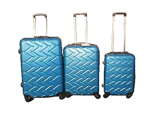 Orlac Tyre Set 3 Trolley valigie rigide in ABS e policarbonato 4 ruote piroettanti colori vari (Blu)