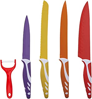 Swiss Home Colors Set de Cuchillos, Acero Inoxidable, Multicolor, 38x3.5x20 cm