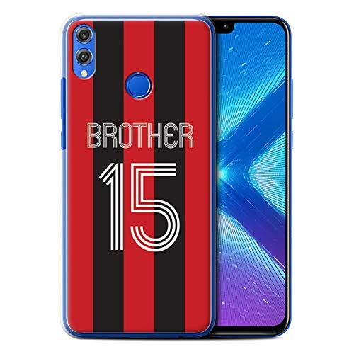 Personalizzato Kit Camicia Club Calcio Personalizzare Custodia/Cover per Huawei Honor 8X/View 10 Lite/Strisce Nere Rosse Design/Iniziale/Nome/Testo Caso/Cassa