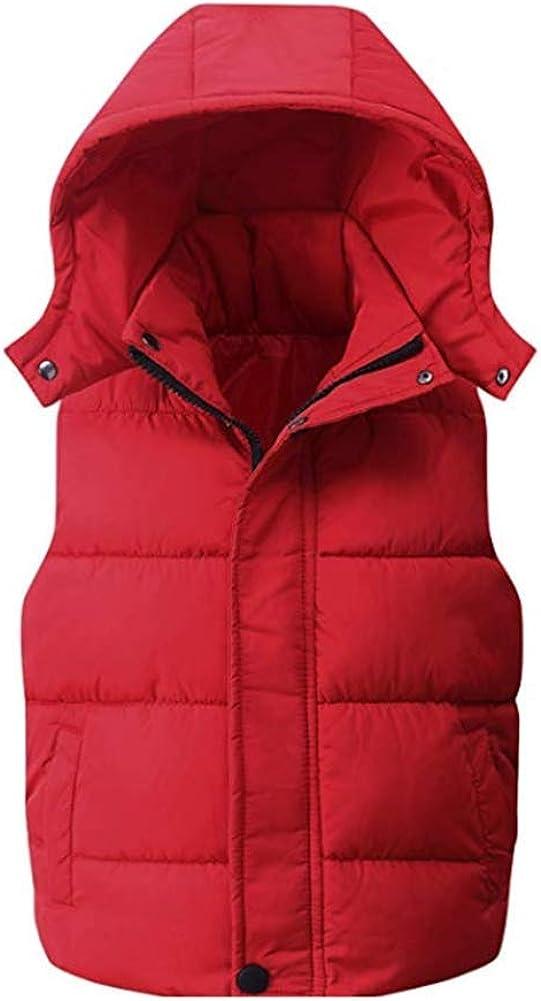 Digirlsor Kids Boys Girls Winter Warm Down Padded Vest Hooded Zipper Sleeveless Jacket Waistcoat Outwear 5-12T