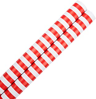 JAM PAPER Gift Wrap - Striped Wrapping Paper - 25 Sq Ft - Red & White Stripes - 2/Pack