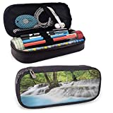 KLKLK Estuche Waterfall Light Pencil case Mystic Erawan Waterfall in Forest Foggy Over Pool Tropical Jungle Easy to Carry Pale Blue Green White