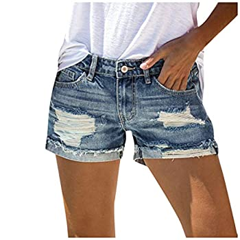 Women's Casual Jean Shorts High Waisted Rolled Hem Patchwork Ripped Denim Shorts with Pockets Women s Sasha Vintage Mid-Rise Button Fly Cutoff Denim Short