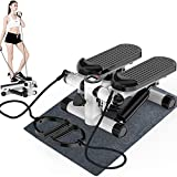 Axonl Mini Fitness Stepper, Stair Stepper with Resistance Bands, Hydraulic Mute Step Machine for Exercise, Anti Slip Fitness Step Machine with LCD Motion Display
