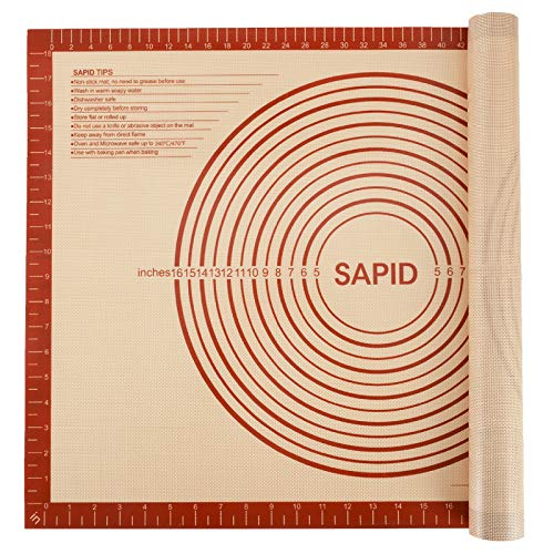 Sapid Extra Thick Silicone Pastry Mat Non-slip with Measurements for Non-stick Silicone Baking Mat Extra Large, Dough Rolling, Pie Crust, Kneading Mats, Countertop, Placement Mats (20' x 28', Red)