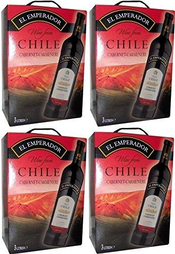 4 x EL EMPERADOR CABERNET CARMENERE CHILE Bag in Box 3l Incl. Goodie von Flensburger Handel