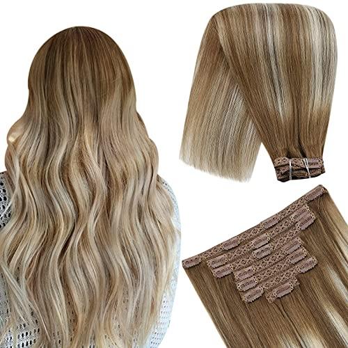 YoungSee Extension a Clip Cheveux Naturel Tête Pleine 7pcs/120g - Brun Moyen #6 Mixed avec Blond Platine #60 - Clips Cheveux Extension Bresilien Remy