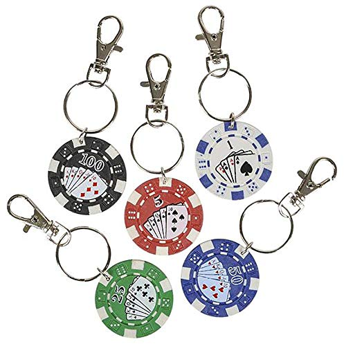 Kicko 1.5 Inch Poker Chip Keychain - 12-Pack Mini Backpack Carabiner Clip - Keyring for Bag and Belt Loop Accessory, Back to School Item, Arts and Crafts, Educational Tool, Party Favors