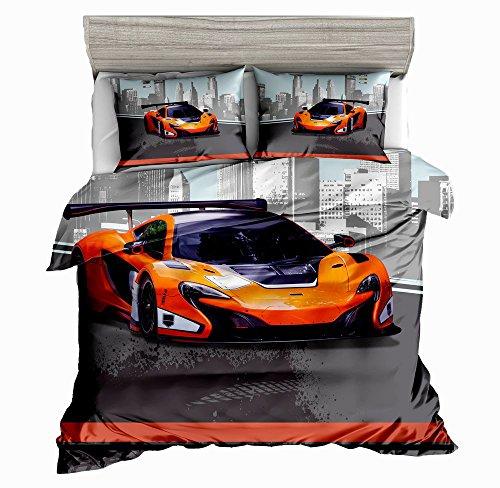 SHOMPE Queen Size Kids Speed Sports Car Duvet Cover Set,3 Piece Bedding Set Pillow Shams Teens Boys Girls,NO Comforter