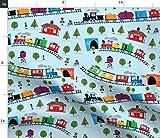 Spoonflower Stoff - Züge, Blau, Kinderzimmer, Eisenbahn,