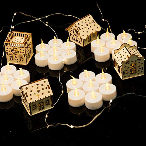 Midafon 24 Pcs LED Flameless Candles Votive Candles Flickering Tealight Candles Battery Operated Halloween Decoration
