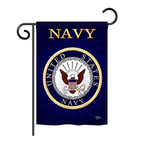 "Breeze Decor US Navy Garden Flag USN Armed Forces Seabee Official Licensed United State American Military Veteran Retire Decorative, 13""x 18.5"", Thick Fabric Idaho"