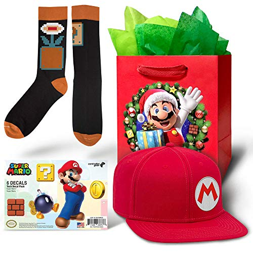 Controller Gear Authentic and Officially Licensed Nintendo Mario Baseball Cap and Block/Fire Flower Sock Gift Bundle for Men and Women