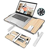 Laptop Desk for Bed,JZBRAIN Adjustable Laptop Bed Tray with Internal USB Cooling Fan,Portable Foldable Standing Laptop Desk for Working Reading Gaming on Bed Couch Floor,Fits for 17'Laptop or Smaller