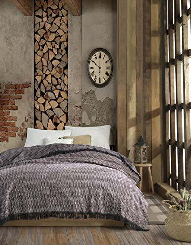Alvine Flanell Tagesdecke Überwurf Decke - Warme Wohndecke perfekt für Bett & Sofa, 100prozent Baumwolle 185x235cm (Hellpink)