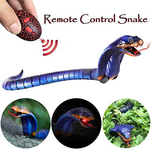 Scoolr Schlangenspielzeug mit Fernbedienung, Infrarot-Fernbedienung, wiederaufladbar, lebensecht, realistische Naja Cobra Schlange, Spielzeug für Kinder, Geschenke, Haustierspielzeug, 43,2 cm (blau)