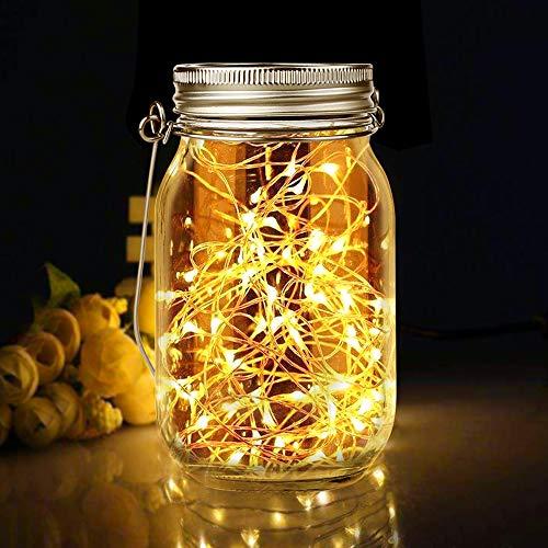 Solarleuchte im Einmachglas, Solarlampen für Außen Hängend 30LED Wetterfest Lichterkette im Glas Solarlampen für Außen Garten, Weihnachten, Außen Laterne, Hochzeit, Party, Wand, Tisch, Baum (Warmweiß)