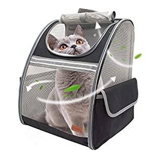 BELPRO Cat Backpack Carrier, Small Pet Dog Backpack Carrier for Small Dogs Puppies with Ventilated Design, Airline Approved, Collapsible | for Travel, Hiking, Outdoor(Black)