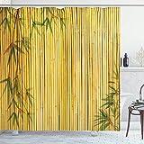 N \ A Bambus-Duschvorhang, gelber farbiger Bambushintergr& mit Baumzweigen, exotischen Pflanzen, friedliche Kunstwerke, Stoffstoff, Badezimmer-Dekor-Set mit Haken, 183 x 183 cm, grün-gelb