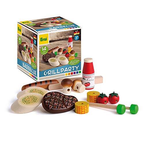 Erzi 28199 Sortierung Grillparty aus Holz, Kaufladenartikel für Kinder, Rollenspiele