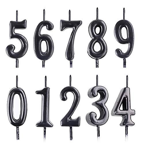 Hileyu Velas Numéricas de 10 Piezas,Velas Numéricas de Cumpleaños, Velas Numéricas para Tartas de Cumpleaños 0-9,Decoración para Tartas con Purpurina para Fiestas de Cumpleaños (Negro).
