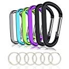 "6PCS Carabiner Caribeaner Clip,3"" Large Aluminum D Ring Shape Carabeaner with 6PCS Keyring Keychain Hook"