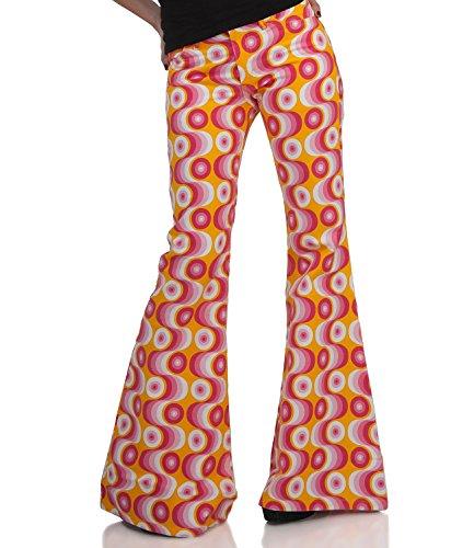 COMYCOM 70er Muster Damen Schlaghose Star Waves pink 30/34