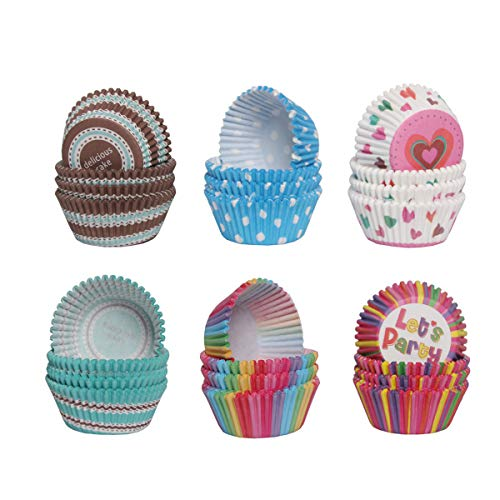 Colorful Muffin Cupcake Paper Cups Mold DIY Cake Paper Cup Birthday Party Wedding Family Gathering Making Cupcakes Supplies Cake Decorating Tools (600, Colorful)