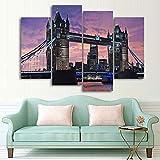 IOIP Cuadro En Lienzo 4 Piezas Impresiones sobre Lienzo Puente de Londres Inglaterra 4 ImpresióN HD Pintura 4 Piezas Modernos Salón Decoracion Murales Pared Lona XXL Hogar Dormitorios Decor