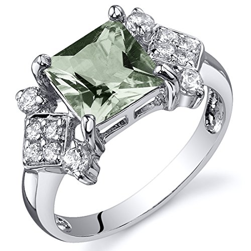 Peora Green Amethyst Ring in Sterling Silver, Vintage Style Design, Princess Cut 1.50 Carats total, Comfort Fit, Size 8 Comfort Fit Solitaire Setting